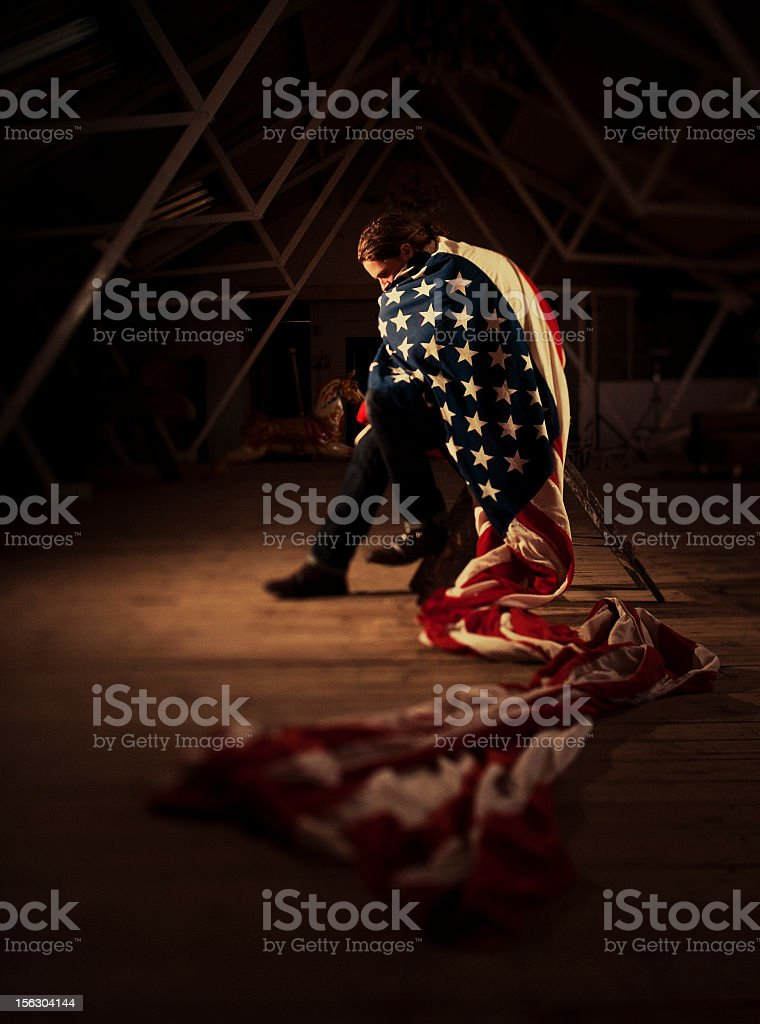young guy with a huge flag stock photo