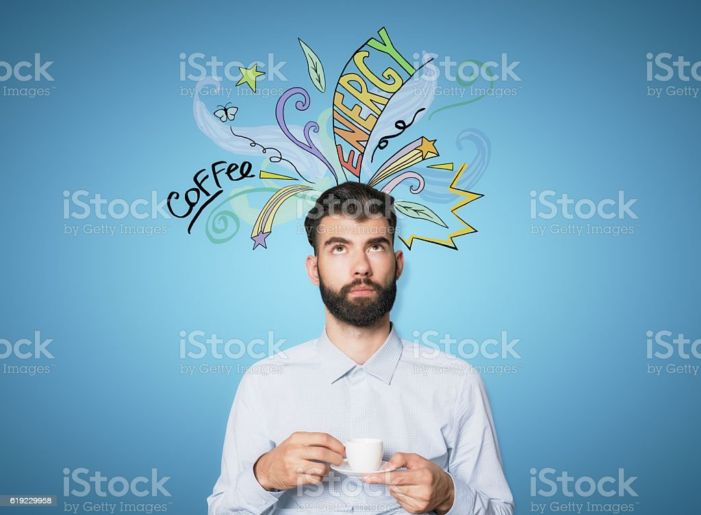 Young guy with coffee sketch stock photo