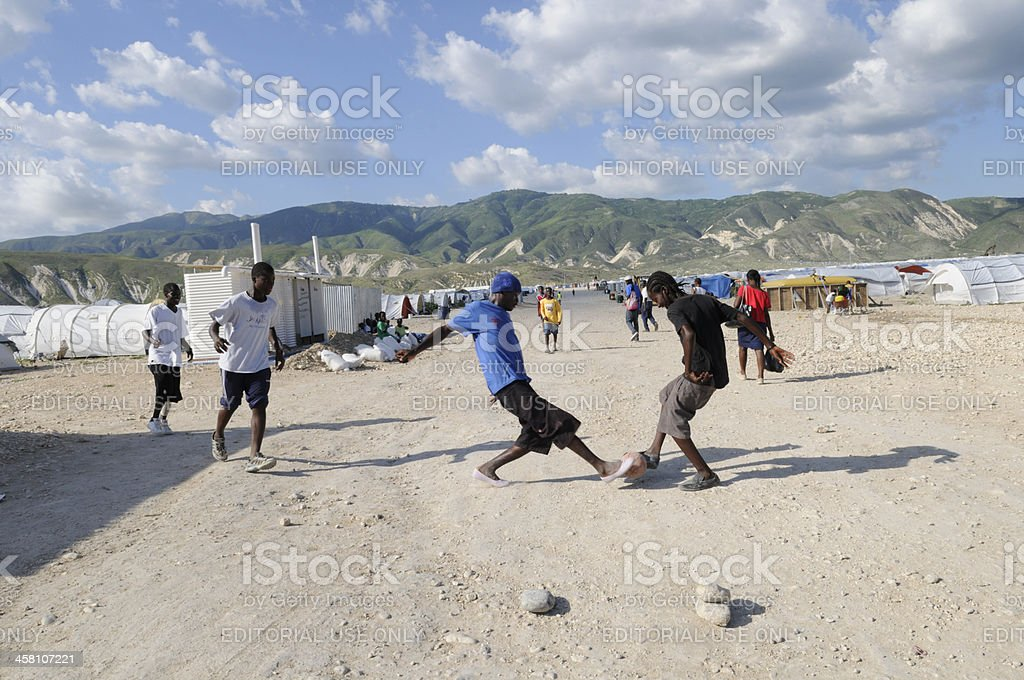 Young Haitins playing their favorite game. royalty-free stock photo