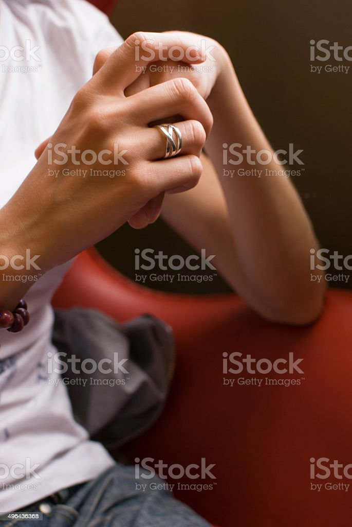 Young hands using a ring stock photo