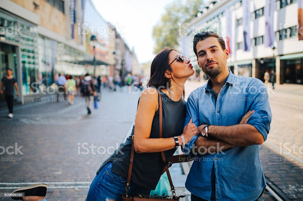 Young handscome couple stock photo