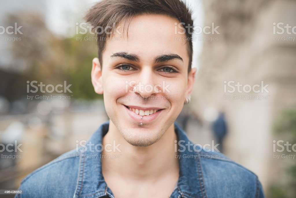 young handsome alternative dark model man stock photo