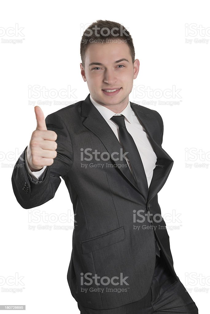Young Handsome and Confident Businessman With Thumbs Up royalty-free stock photo