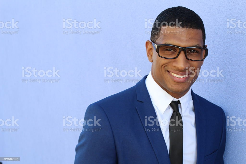 young handsome cool black man intelligence stock photo