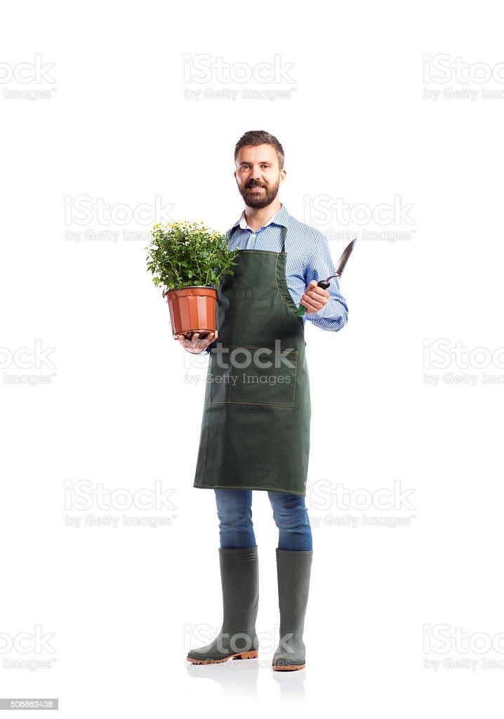 Young handsome gardener stock photo