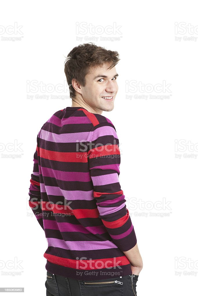 young handsome man in colorful sweater royalty-free stock photo