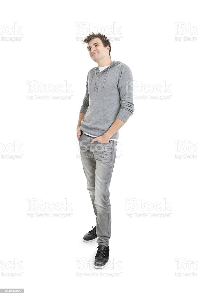 young handsome man in grey blouse royalty-free stock photo