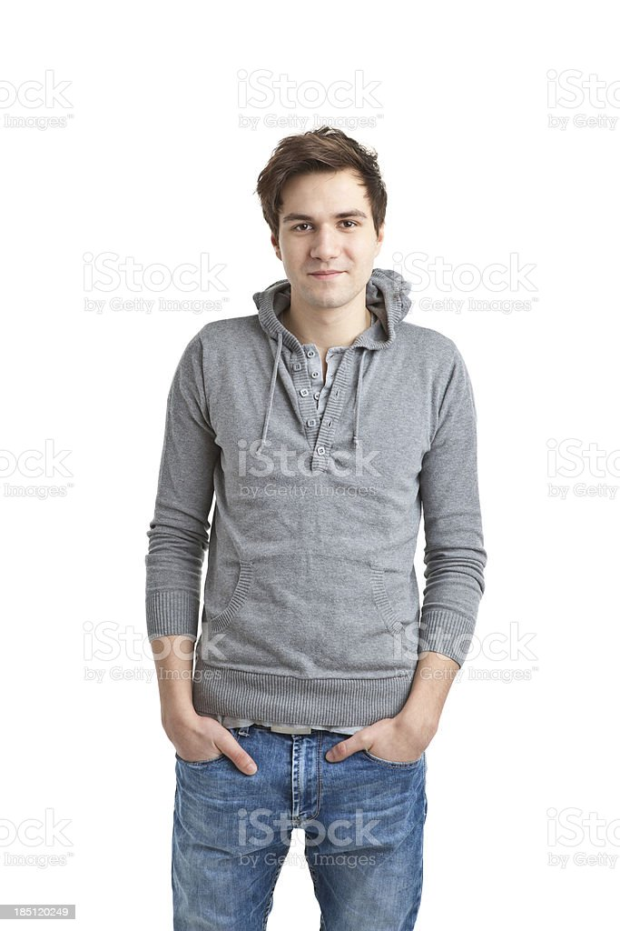 young handsome man in grey sweater stock photo