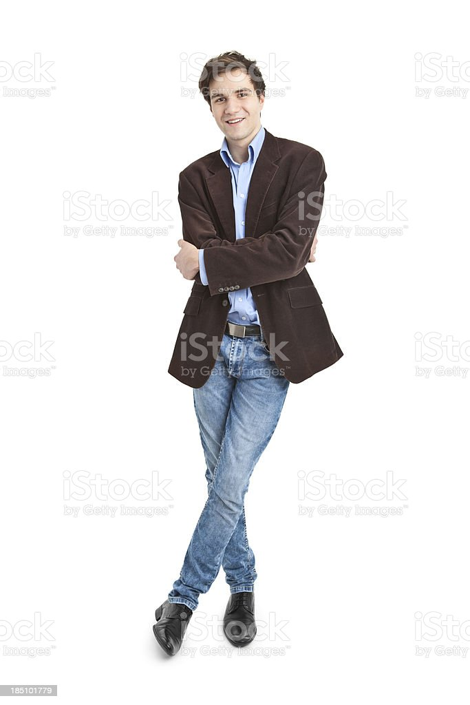 young handsome man in jacket stock photo
