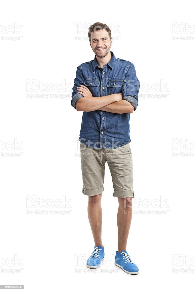 young handsome man in jeans shirt stock photo