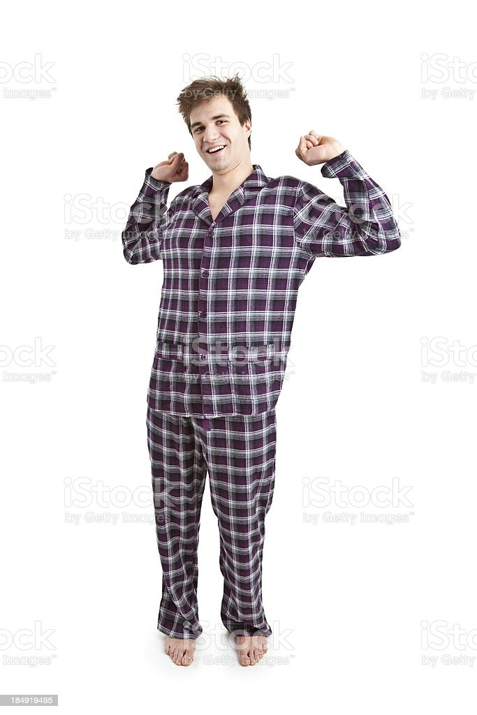 young handsome man in pijamas stock photo