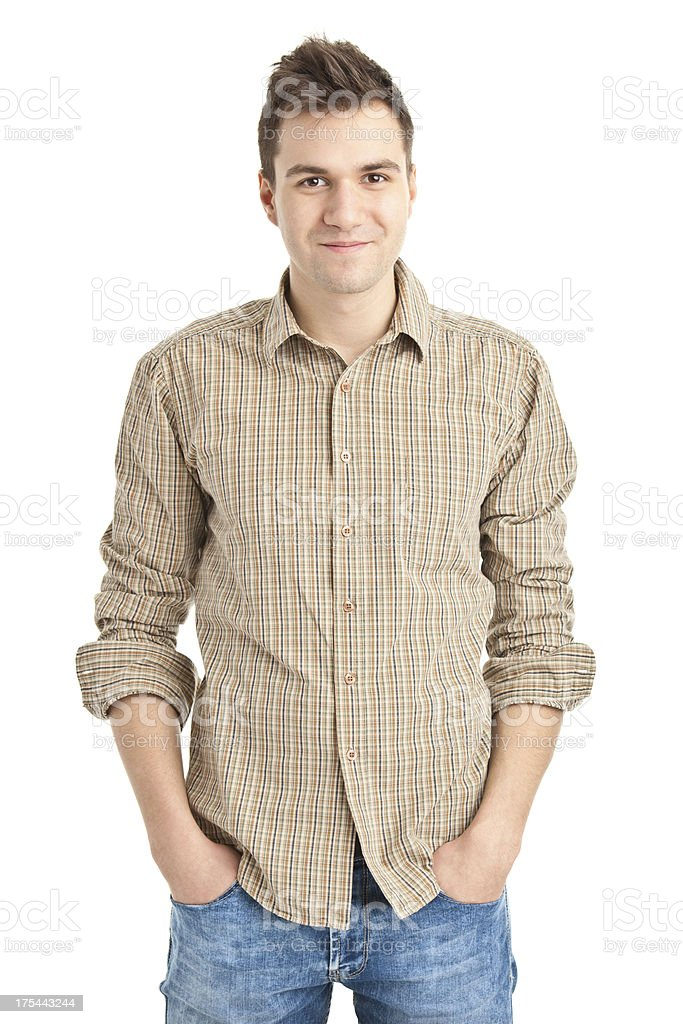 young handsome man in shirt stock photo