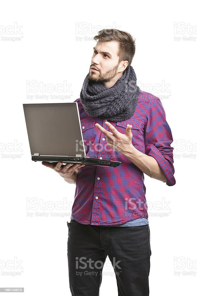 young handsome man with laptop royalty-free stock photo