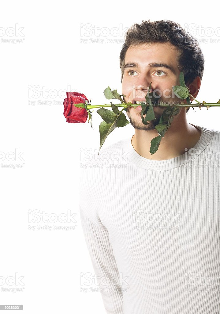 Young handsome man with rose. Isolated on white. royalty-free stock photo