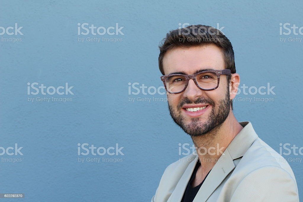 Young handsome successful businessman with glasses stock photo