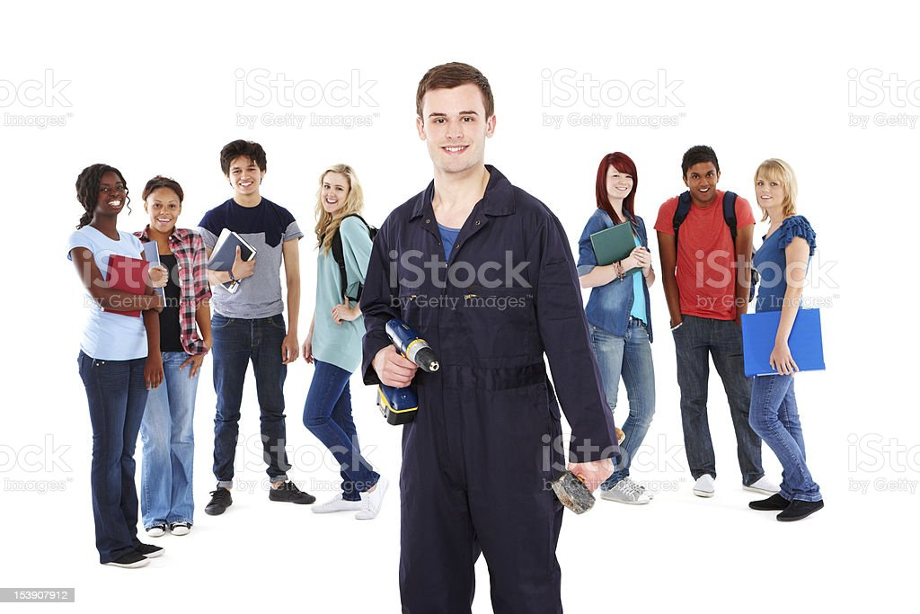 Young Handyman With Teenage Students - Isolated royalty-free stock photo