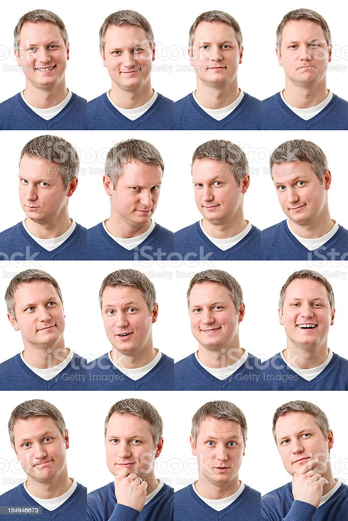 young happy adult montage of 16 expressions stock photo