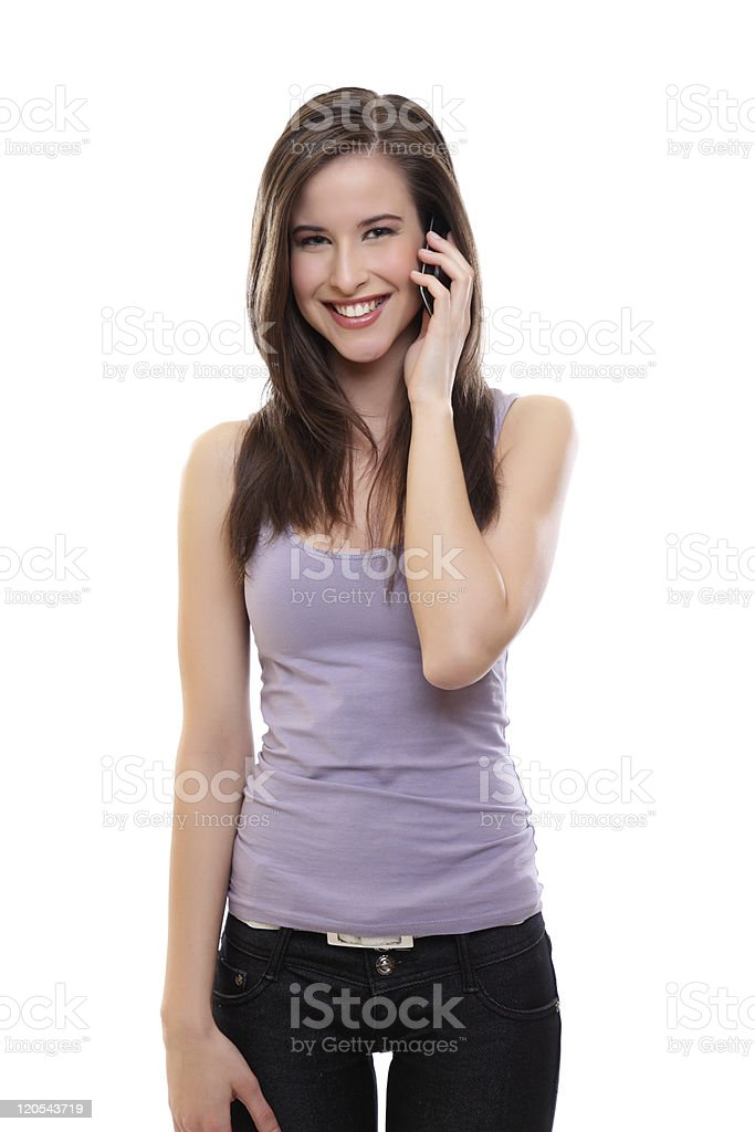 young happy brunette woman making a call stock photo
