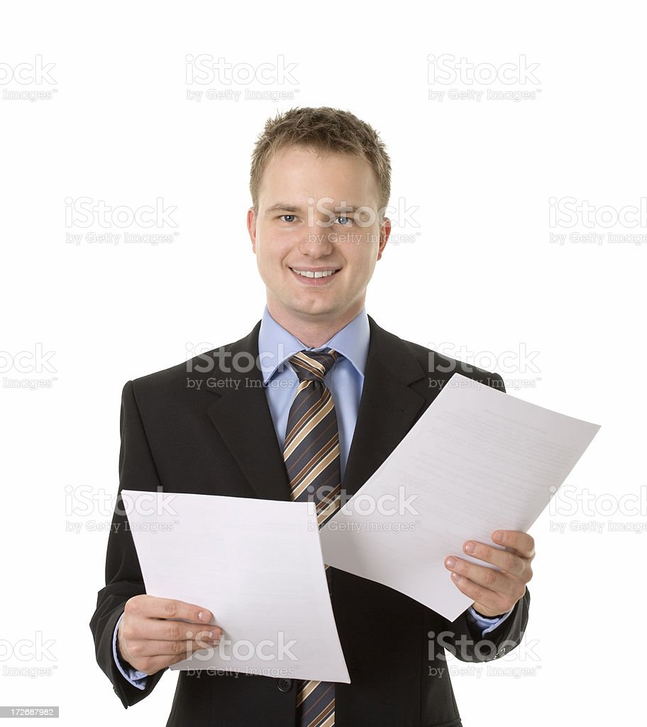 young happy businessman with documents royalty-free stock photo