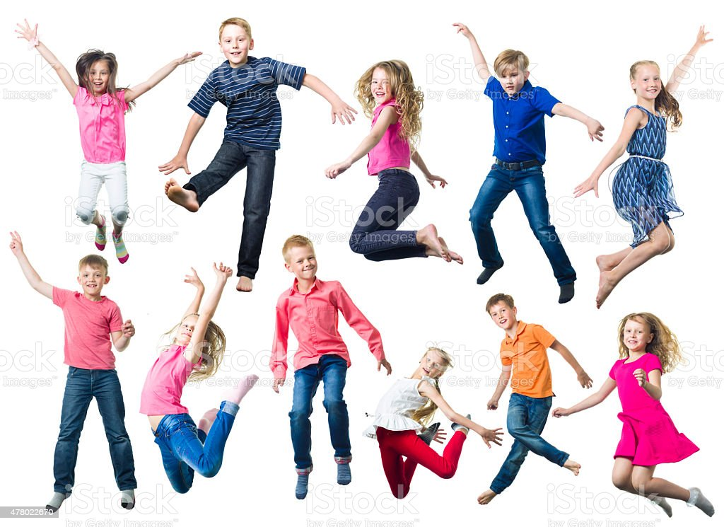Young Happy Children Jumping stock photo