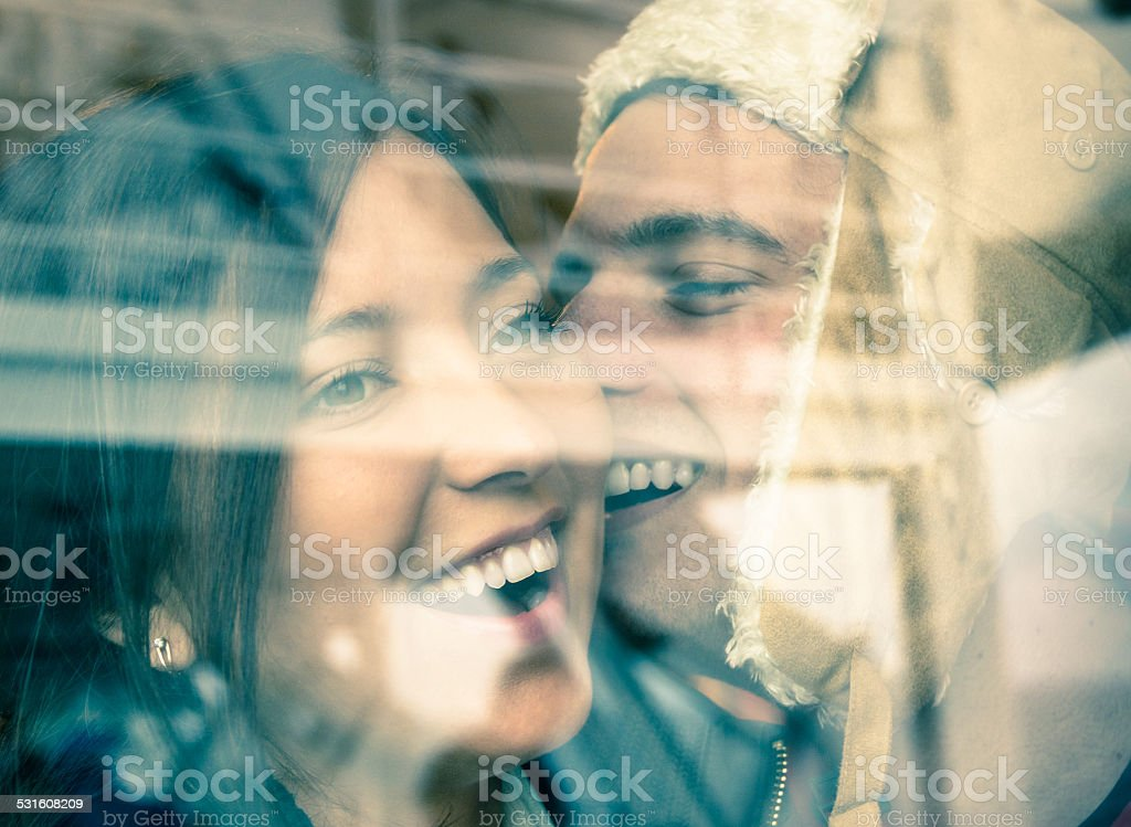 Young happy couple at the beginning of a love story stock photo
