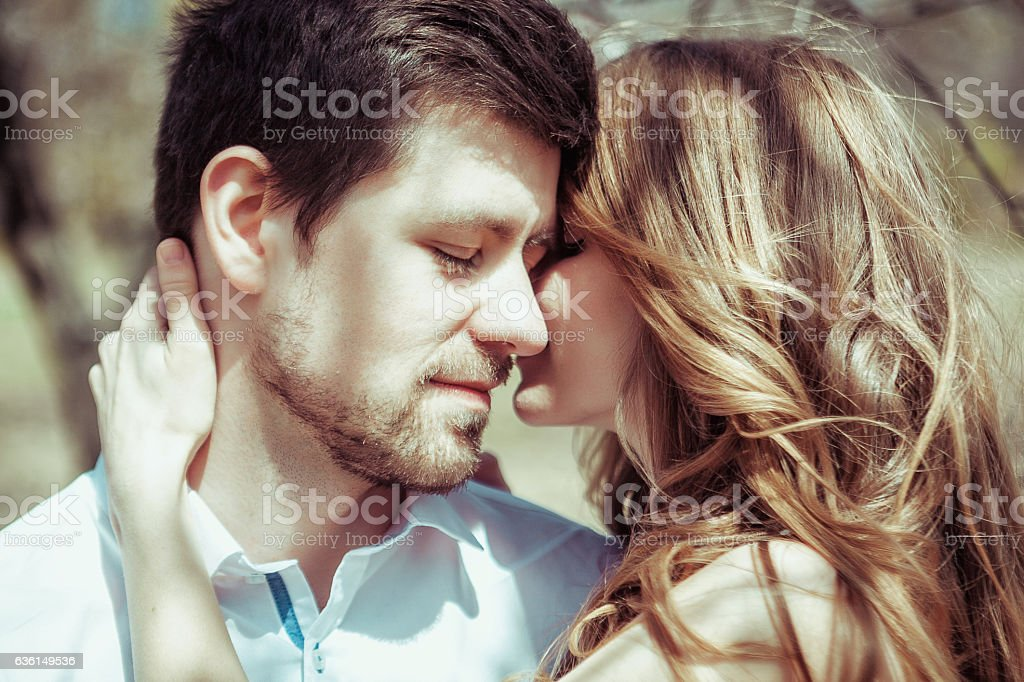 Young happy couple in love outdoors. loving man and woman stock photo