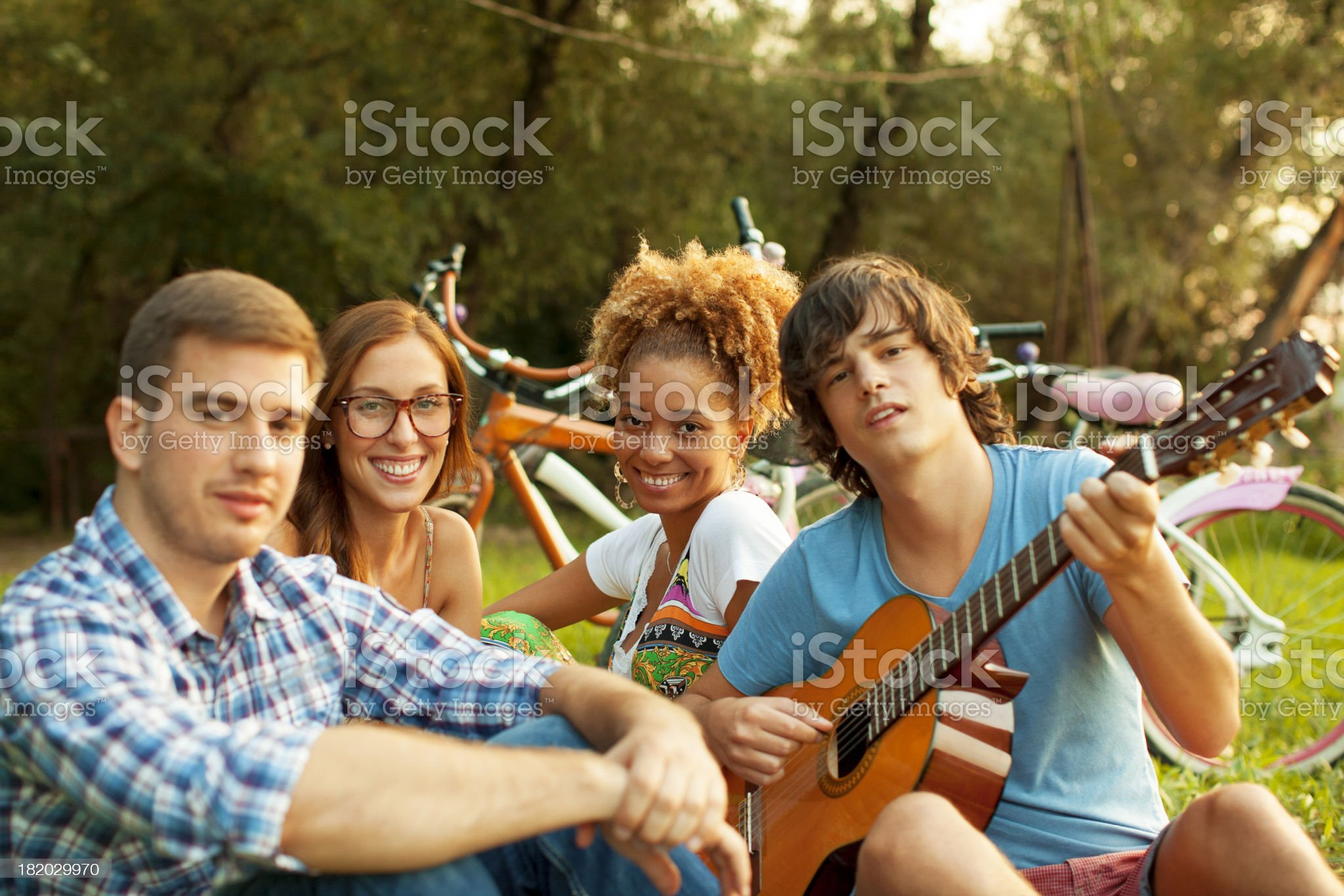 Young Happy Couples Having Fun Outdoors. royalty-free stock photo