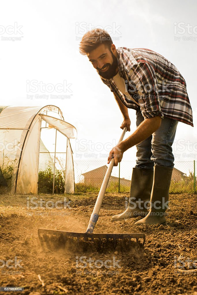 Young happy farmer working with a rack on a field. stock photo