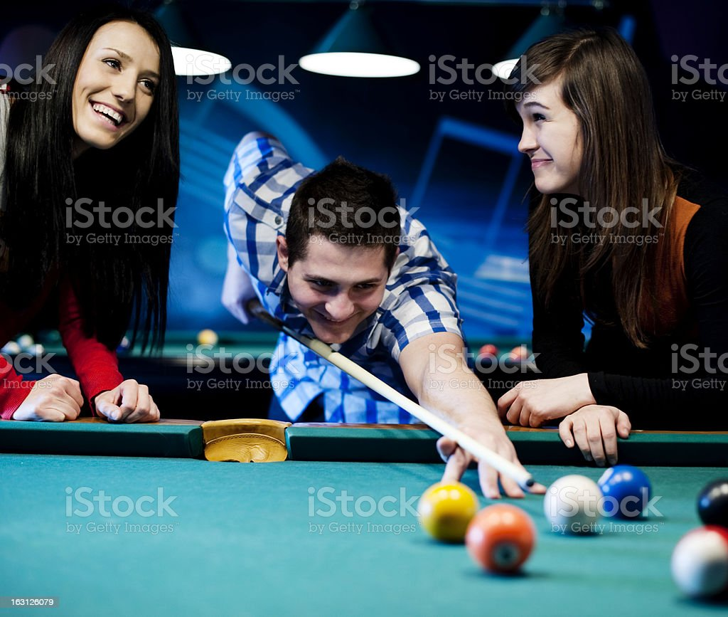 three ladies are playing billiards and having unforgettable threesome  24027