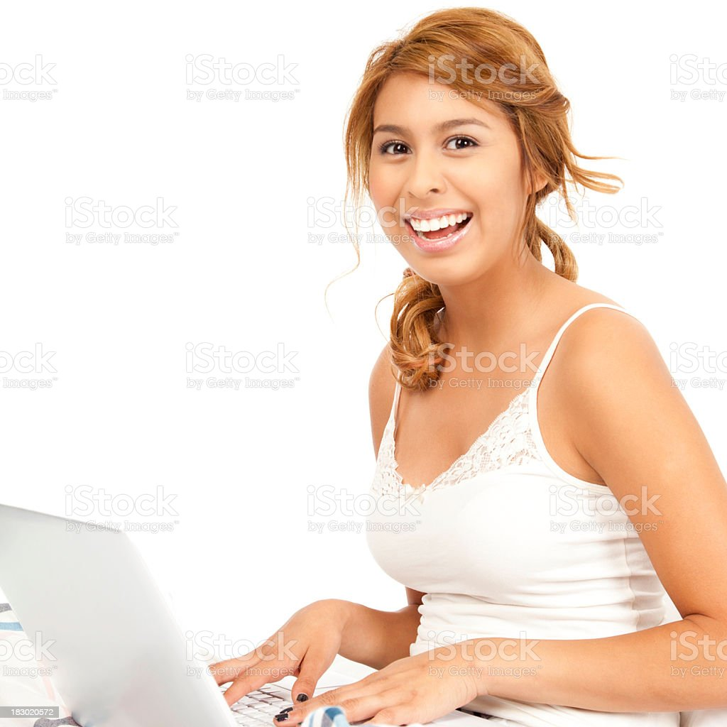 Young Happy Girl Using Her Laptop royalty-free stock photo