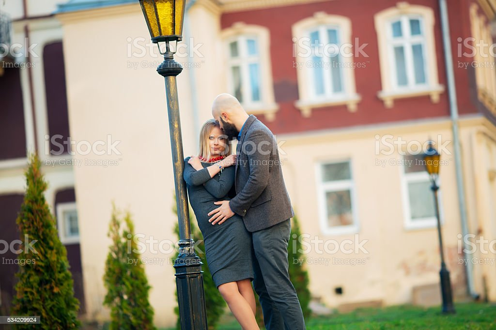 Young happy laughing and smiling couple in love royalty-free stock photo