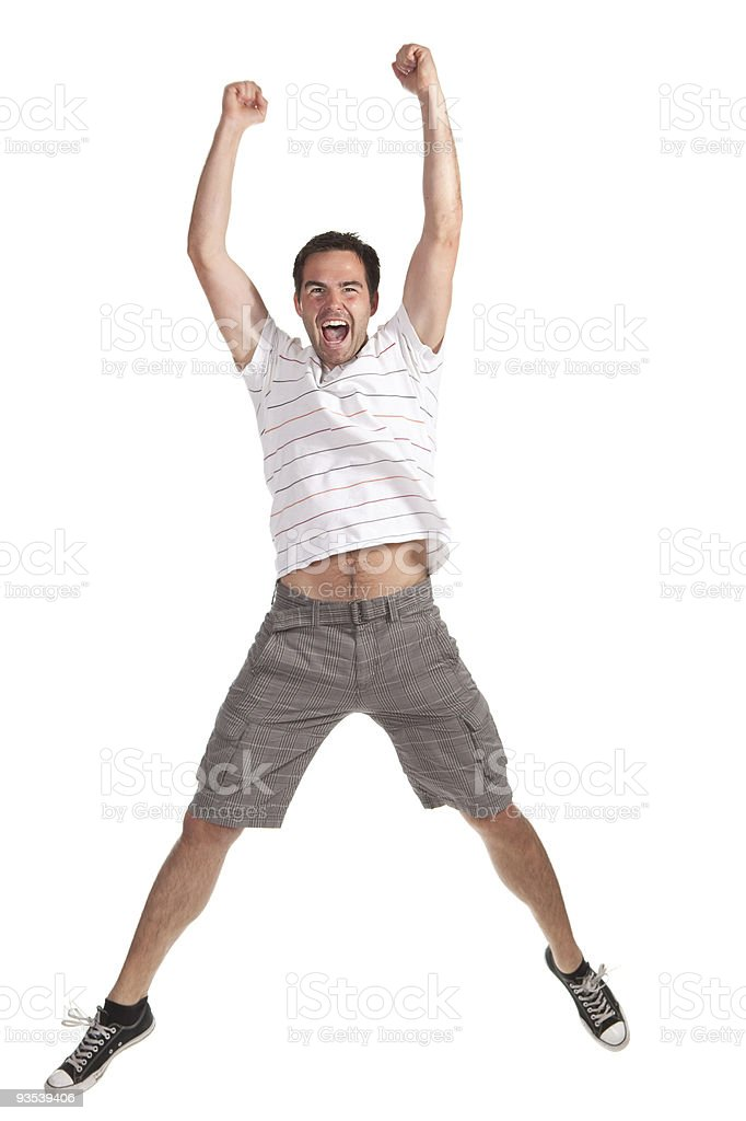 young happy man jumping on a white background stock photo