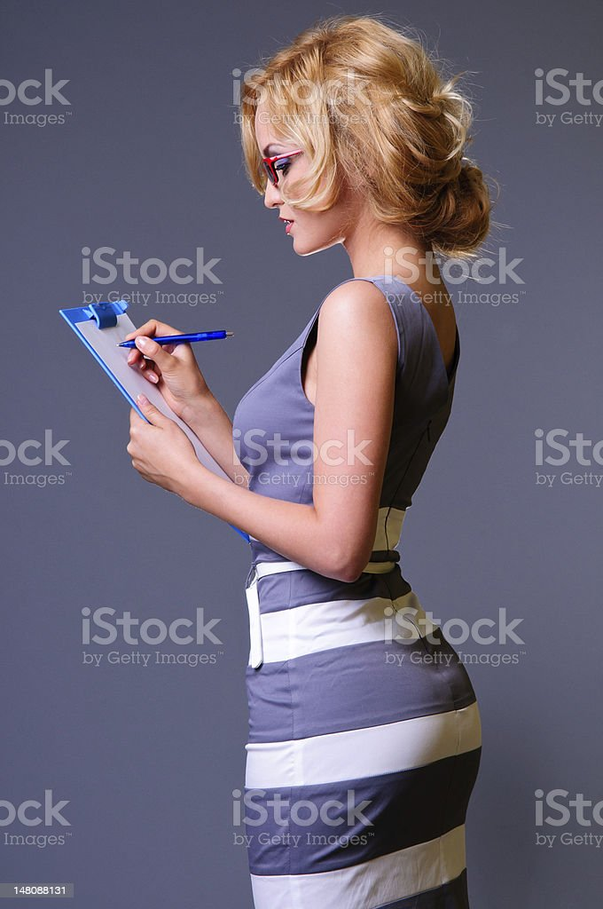young happy sexy businesswoman royalty-free stock photo