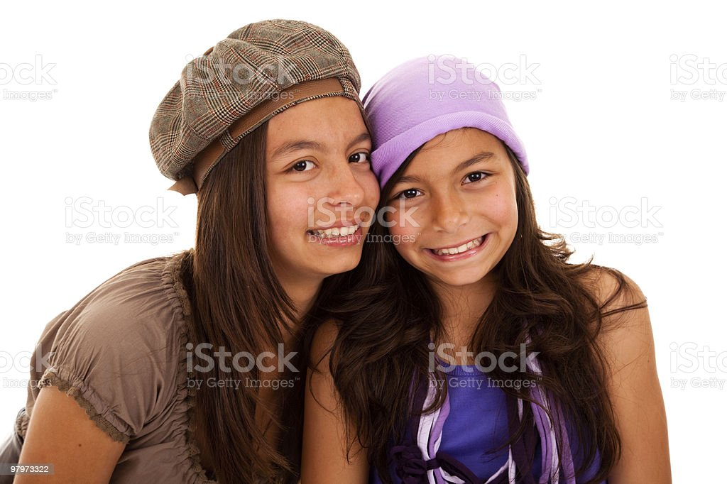 Young happy sisters stock photo