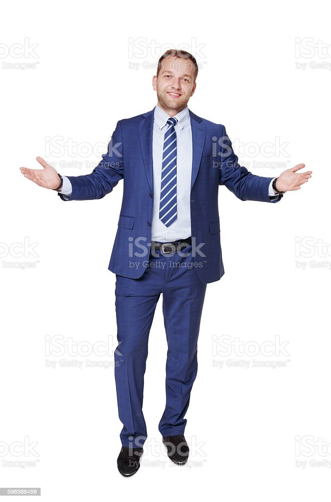 Young happy succesful businessman isolated on white stock photo