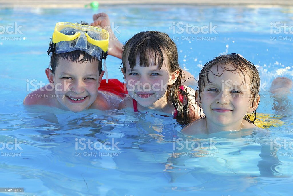 Young happy swimmers posing for picture royalty-free stock photo