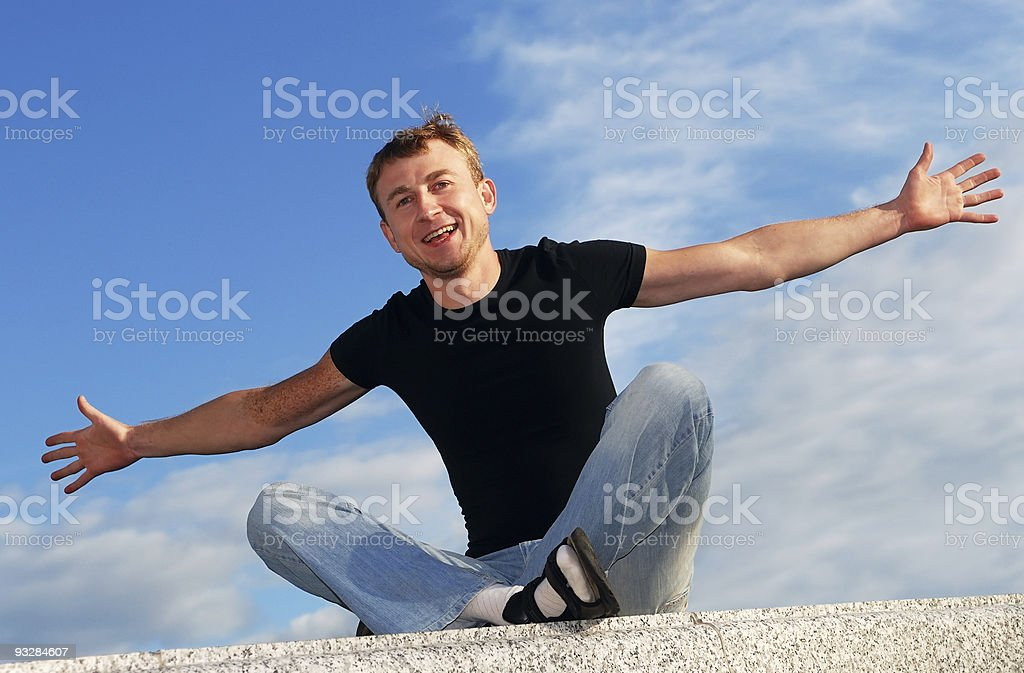 young happy welcoming man stock photo