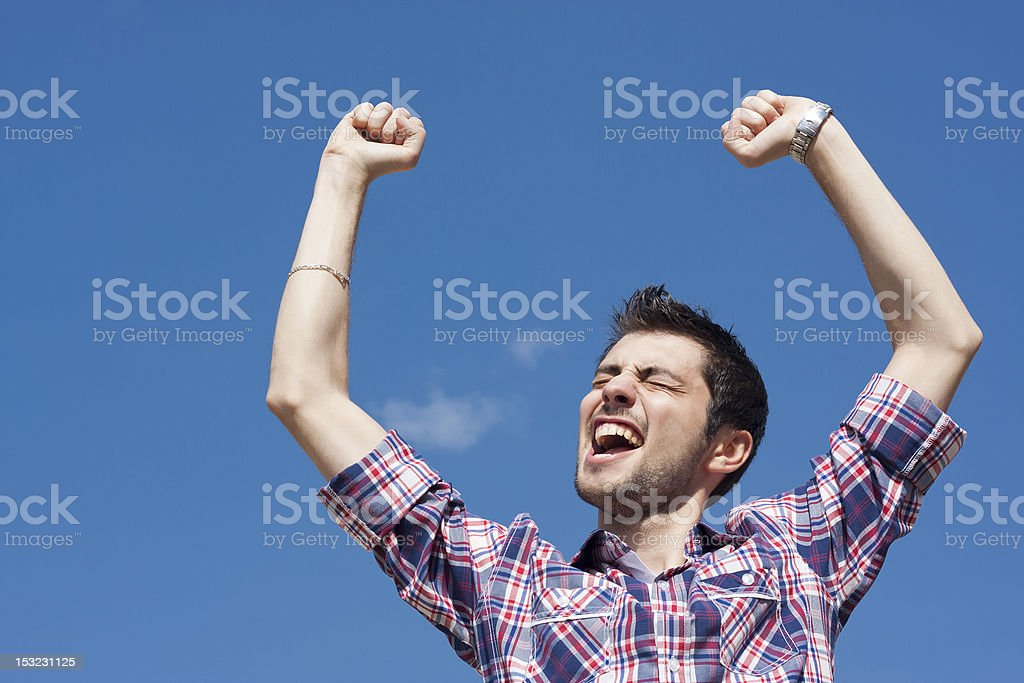Young happy winner royalty-free stock photo