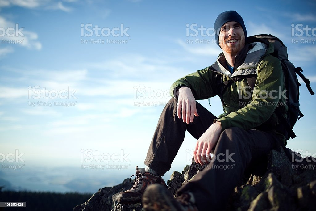 Young Hiker At Mountain Top stock photo