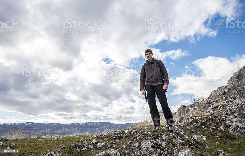 Young Hiker At Mountain Top royalty-free stock photo