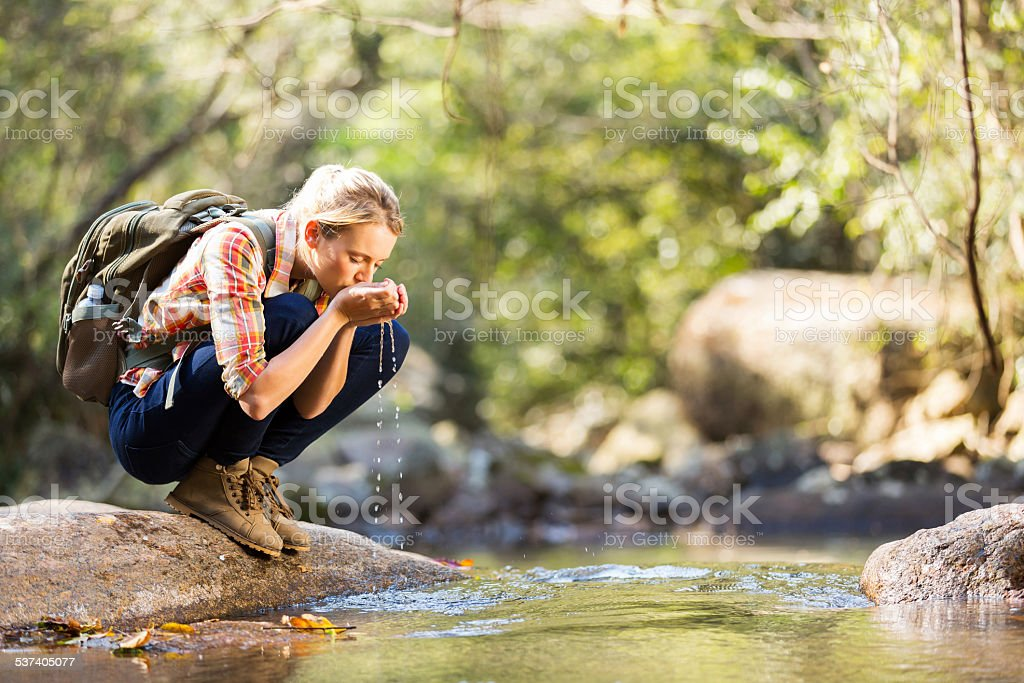 young hiker drinking stream water stock photo
