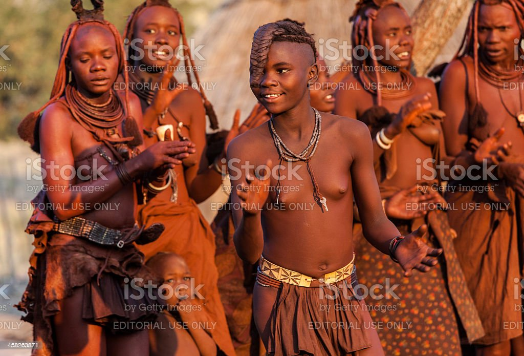 Young himba girl dancing royalty-free stock photo