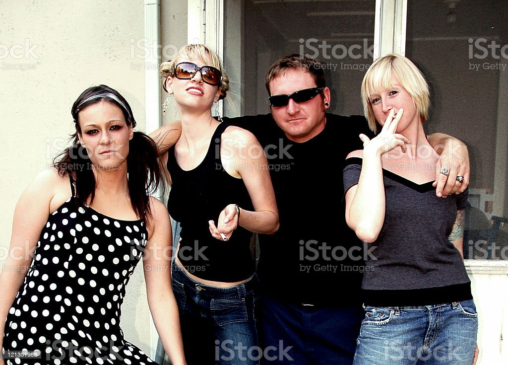 Young hip group of friends royalty-free stock photo