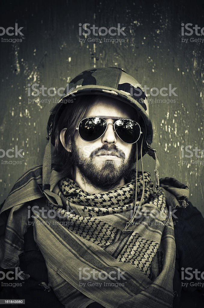 young hippie soldier royalty-free stock photo