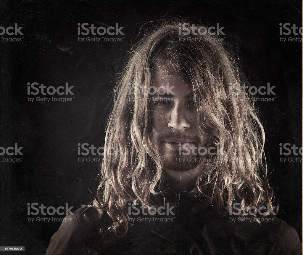 young hippie with a black biker jacket stock photo