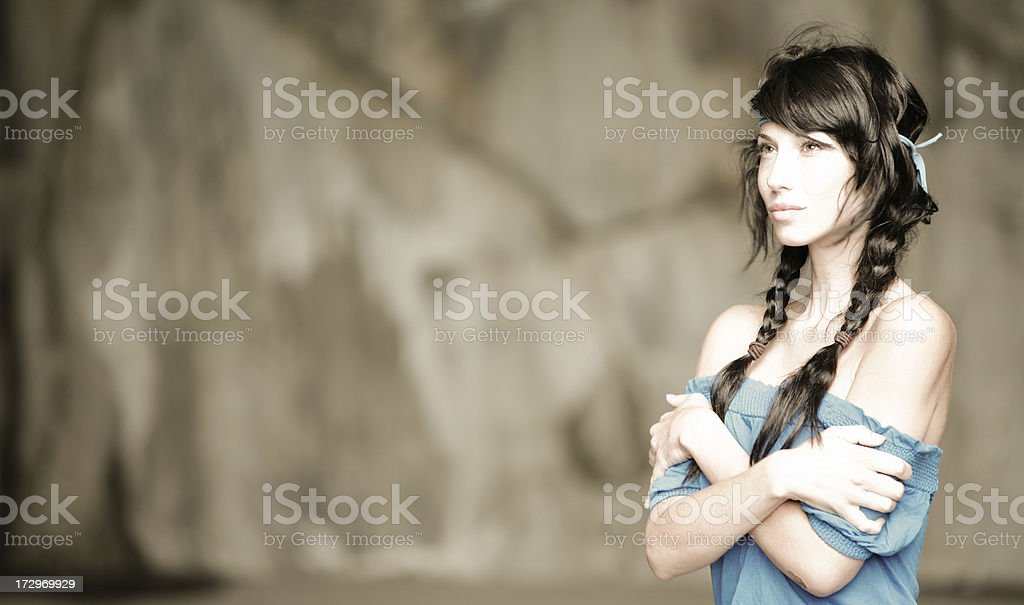 Young hippy american woman looking at camera royalty-free stock photo