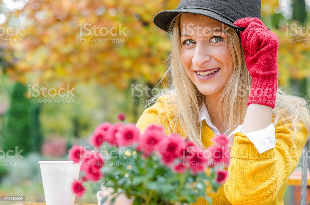 Young hipster girl with black hat stock photo