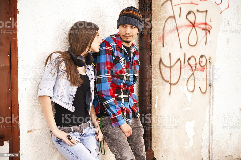 Young hipster guy and his girfriend royalty-free stock photo