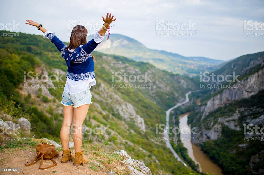 Young hipster hiker stock photo