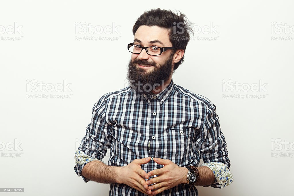 Young hipster man with beard stock photo